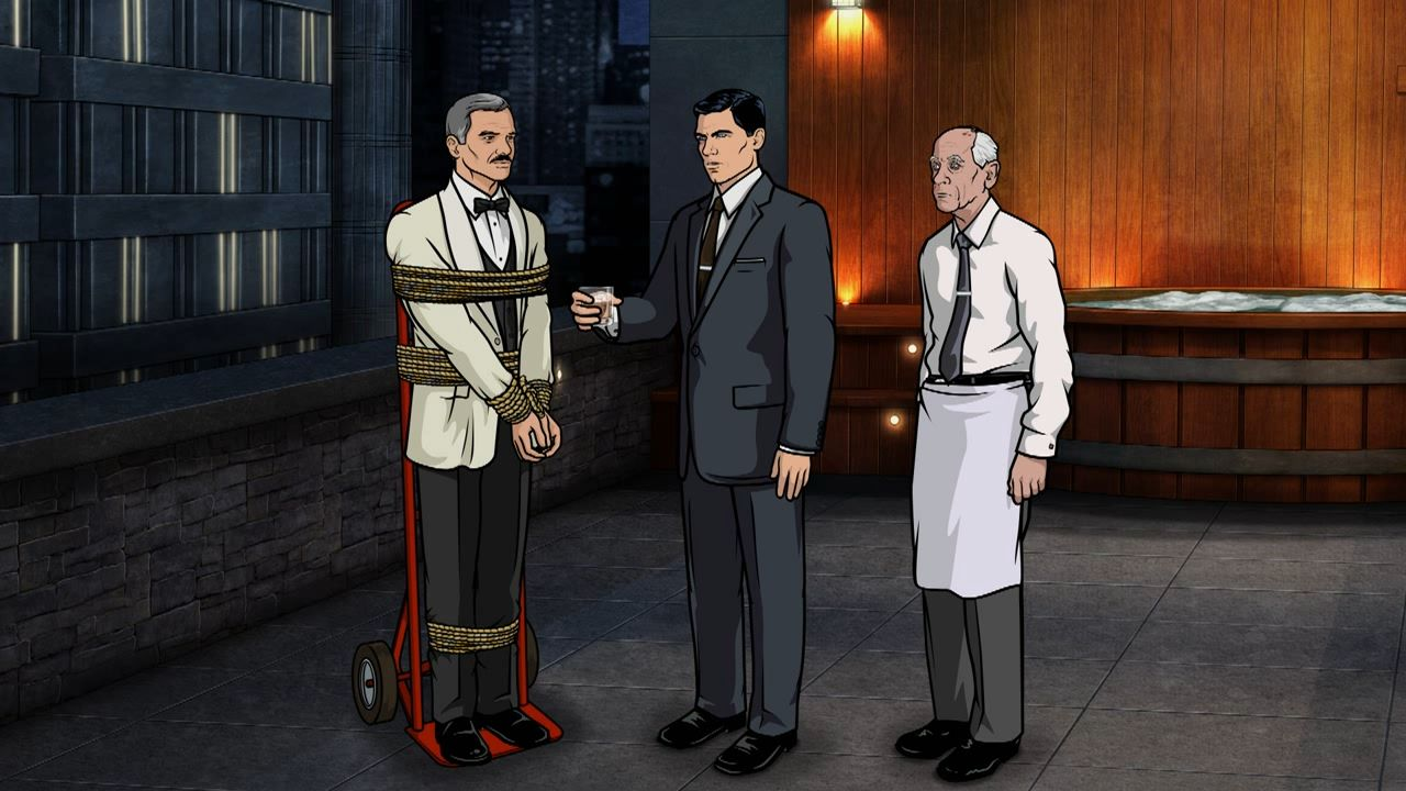 Archer interrogating Burt Reynolds, Animation Background of red wood hot tub.
