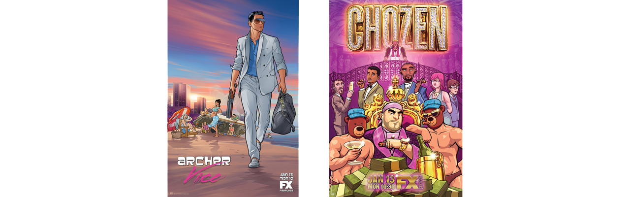 Season posters for Archer and Chozen